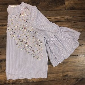 Crown & Ivy white and blue striped sequin Top XXL